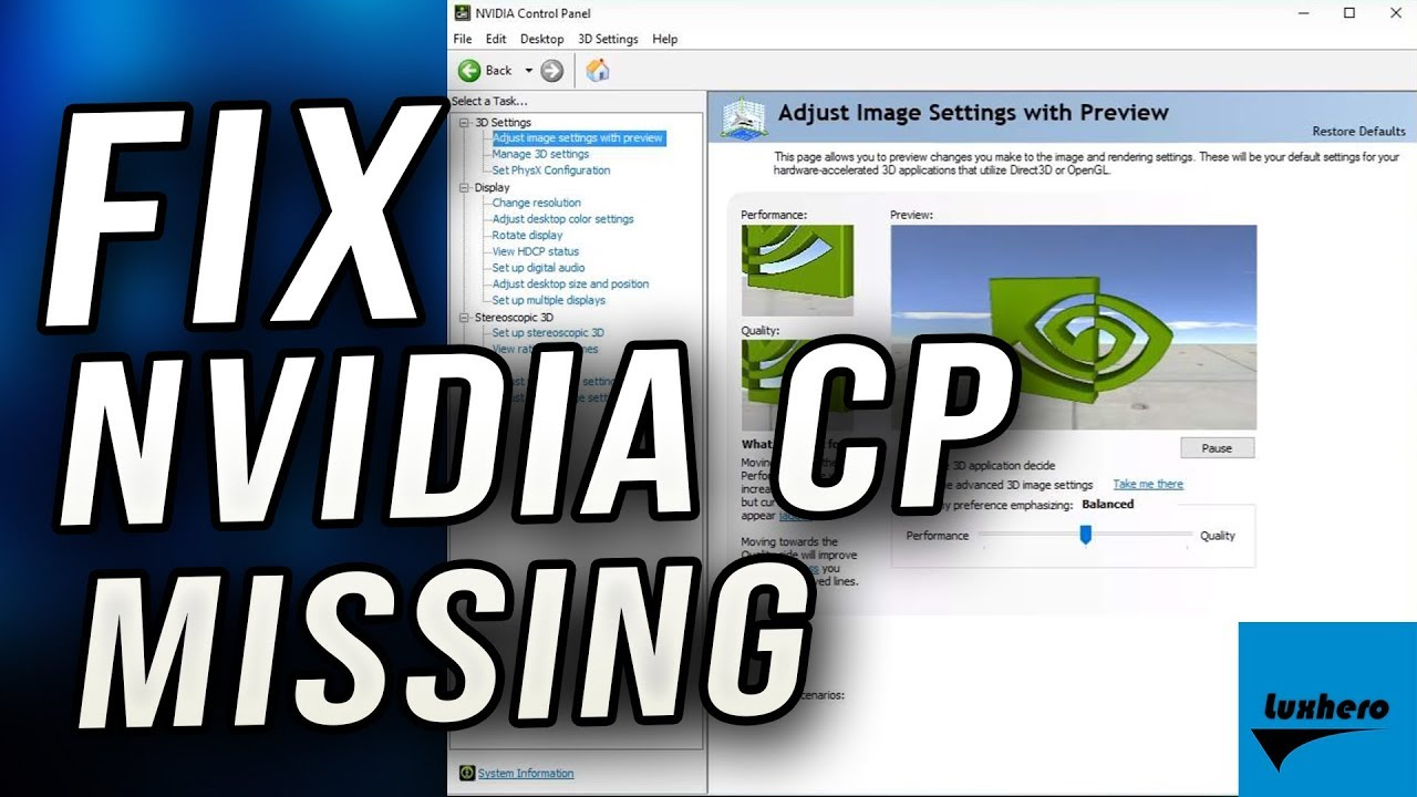 4 Methods to Fix Nvidia Control Panel Missing Options Issue in Windows 10