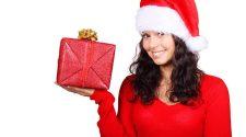 Box, Christmas, Claus, Cute, Female, Gift, Girl, Happy