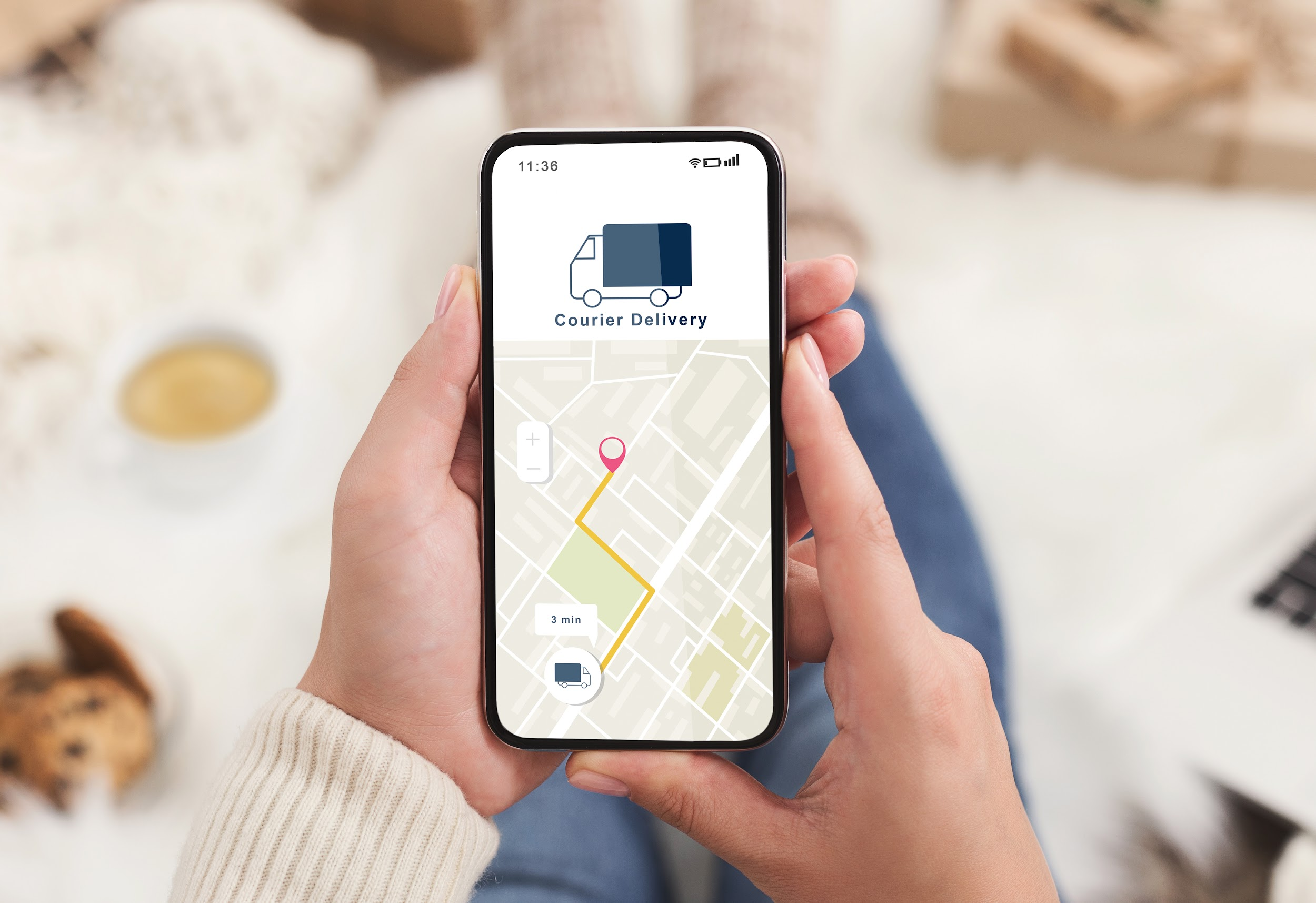 Modern courier delivery at home, shopogolic and online shopping. Hands of lady holding smartphone with mobile app and map to track the order on digital screen on blurred background, collage, cropped
